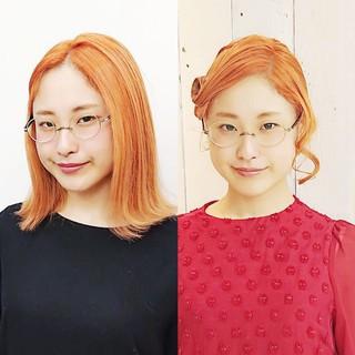 ヘアアレンジ ハイトーン オレンジ ミディアム ヘアスタイルや髪型の写真・画像
