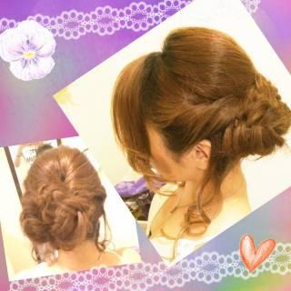 ツイスト アップスタイル 結婚式 編み込み ヘアスタイルや髪型の写真・画像