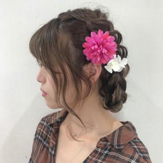 三つ編み 浴衣ヘア 簡単ヘアアレンジ ヘアアレンジ ヘアスタイルや髪型の写真・画像