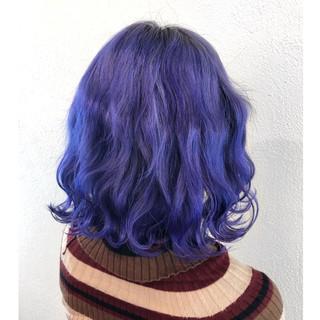 パープル ラベンダー モード 韓国風ヘアー ヘアスタイルや髪型の写真・画像