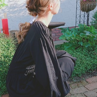 大人可愛い ポニーテール ガーリー セミロング ヘアスタイルや髪型の写真・画像