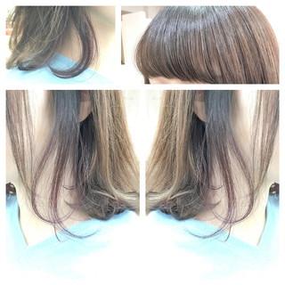 ラベンダーピンク ベージュ インナーカラー グレージュ ヘアスタイルや髪型の写真・画像 ヘアスタイルや髪型の写真・画像