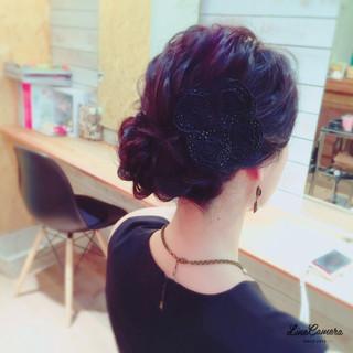 ねじり ヘアアレンジ 編み込み セミロング ヘアスタイルや髪型の写真・画像