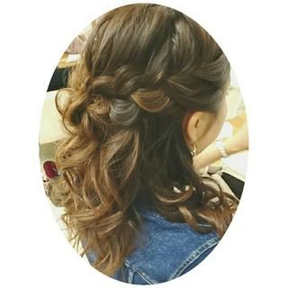 大人かわいい ヘアアレンジ ミディアム ハーフアップ ヘアスタイルや髪型の写真・画像 ヘアスタイルや髪型の写真・画像