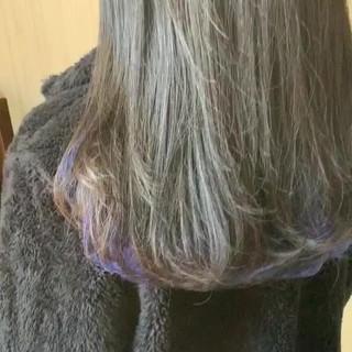 ミディアム ラベンダーピンク 大人かわいい アンニュイほつれヘア ヘアスタイルや髪型の写真・画像
