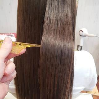 うる艶カラー ストレート 髪質改善トリートメント フェミニン ヘアスタイルや髪型の写真・画像