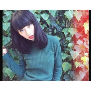ミディアム ウェーブ モード ストリート ヘアスタイルや髪型の写真・画像