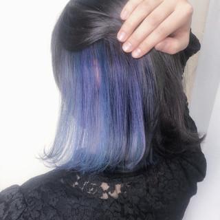 ブルー 簡単ヘアアレンジ ナチュラル インナーブルー ヘアスタイルや髪型の写真・画像
