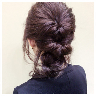 簡単ヘアアレンジ くるりんぱ ショート くせ毛風 ヘアスタイルや髪型の写真・画像