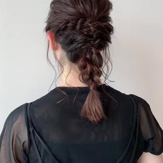 上品 編み込み 編みおろし セミロング ヘアスタイルや髪型の写真・画像