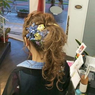 ポンパドール ポニーテール 編み込み ロング ヘアスタイルや髪型の写真・画像