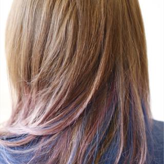 ダブルカラー ブルー カラフルカラー ストリート ヘアスタイルや髪型の写真・画像