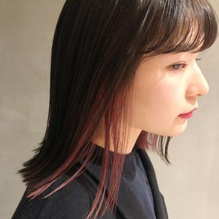 ガーリー デザインカラー ブリーチ ボブ ヘアスタイルや髪型の写真・画像
