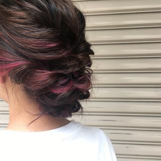 ピンク ストリート ヘアアレンジ ピンクアッシュ ヘアスタイルや髪型の写真・画像