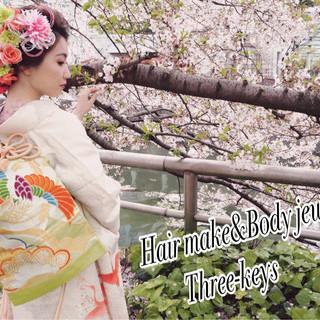 ゆるふわ 和服 ヘアアレンジ 着物 ヘアスタイルや髪型の写真・画像