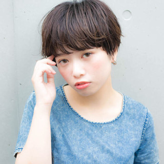 前髪あり 黒髪 ヘアアレンジ ショート ヘアスタイルや髪型の写真・画像