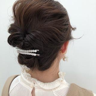 ヘアセット ゆるふわセット ショート ナチュラル ヘアスタイルや髪型の写真・画像