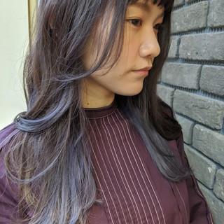 ラベンダー インナーカラー デザインカラー ブルーラベンダー ヘアスタイルや髪型の写真・画像