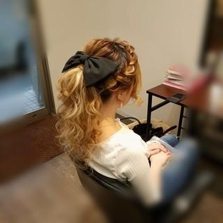 ロング ヘアアレンジ 編み込み ポニーテール ヘアスタイルや髪型の写真・画像