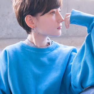 透明感カラー ショート ナチュラル アディクシーカラー ヘアスタイルや髪型の写真・画像
