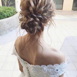 結婚式 ナチュラル パーティ アンニュイ ヘアスタイルや髪型の写真・画像