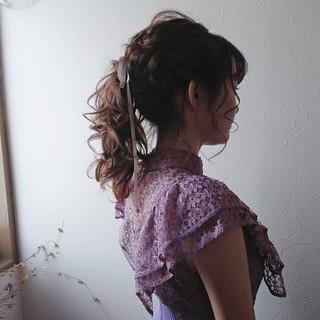 セミロング ポニーテール 大人かわいい ガーリー ヘアスタイルや髪型の写真・画像
