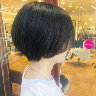 コンサバ ショートボブ 大人かわいい 黒髪 ヘアスタイルや髪型の写真・画像