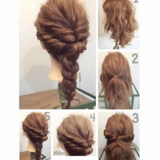 ロング コンサバ 編み込み 三つ編み ヘアスタイルや髪型の写真・画像
