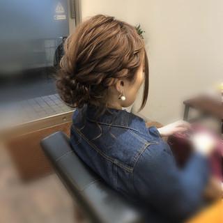 フェミニン ヘアセット 編み込み ヘアアレンジ ヘアスタイルや髪型の写真・画像