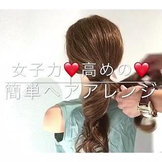 フェミニン 簡単ヘアアレンジ 女子会 デート ヘアスタイルや髪型の写真・画像