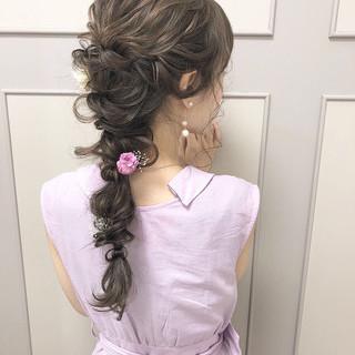 エレガント ヘアアレンジ 卒業式 編みおろし ヘアスタイルや髪型の写真・画像