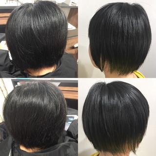 モード ショートボブ 髪質改善トリートメント 縮毛矯正 ヘアスタイルや髪型の写真・画像