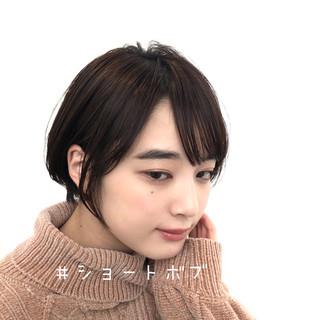 暗髪 透明感カラー 大人かわいい ショート ヘアスタイルや髪型の写真・画像