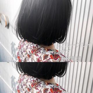 アッシュ ナチュラル ボブ ミルクティーグレージュ ヘアスタイルや髪型の写真・画像