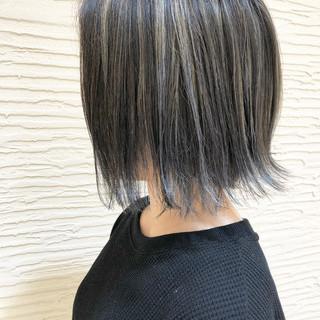 黒髪 ハイライト ナチュラル ショートボブ ヘアスタイルや髪型の写真・画像