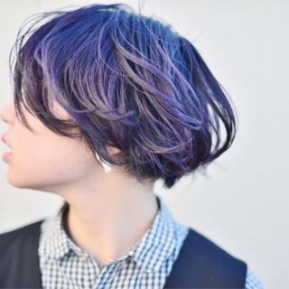 ボブ ハイトーン ストリート アッシュ ヘアスタイルや髪型の写真・画像