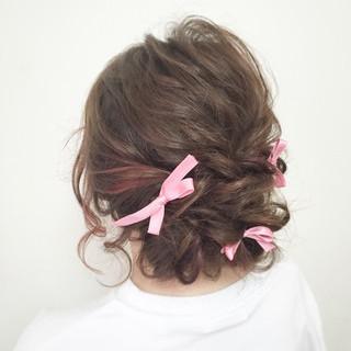 ゆるふわ ロープ編み ヘアアレンジ フェミニン ヘアスタイルや髪型の写真・画像