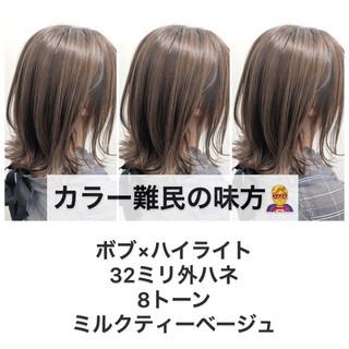 ハイライト ミニボブ ミディアム 極細ハイライト ヘアスタイルや髪型の写真・画像