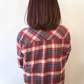 ラベージュ ラベンダーカラー まとまるボブ ラベンダー ヘアスタイルや髪型の写真・画像