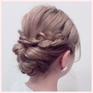 編み込み 三つ編み セミロング 結婚式 ヘアスタイルや髪型の写真・画像