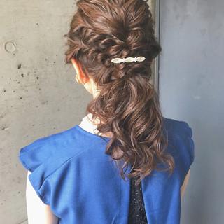 セミロング 編み込み ポニーテール 結婚式 ヘアスタイルや髪型の写真・画像