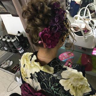 セミロング 花火大会 夏 和装 ヘアスタイルや髪型の写真・画像