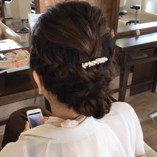 波ウェーブ 三つ編み ヘアアレンジ セミロング ヘアスタイルや髪型の写真・画像 ヘアスタイルや髪型の写真・画像