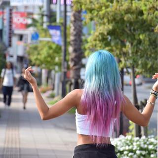 カラートリートメント ブルー ロング グラデーションカラー ヘアスタイルや髪型の写真・画像