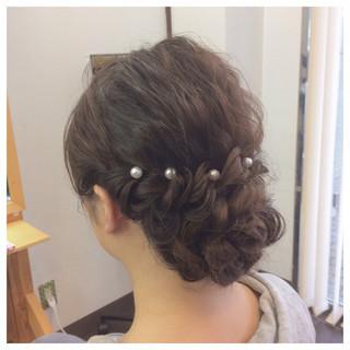和装 セミロング 上品 簡単ヘアアレンジ ヘアスタイルや髪型の写真・画像