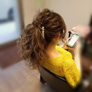 アップスタイル ポニーテール フェミニン ヘアアレンジ ヘアスタイルや髪型の写真・画像
