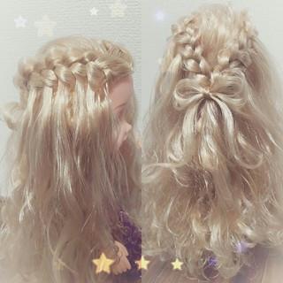 ウォーターフォール 結婚式 ガーリー ヘアアレンジ ヘアスタイルや髪型の写真・画像