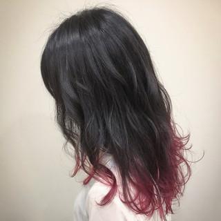 ピンク インナーカラー フェミニン セミロング ヘアスタイルや髪型の写真・画像