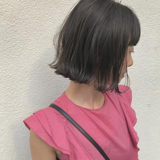 切りっぱなし 外ハネ ハイライト 秋 ヘアスタイルや髪型の写真・画像