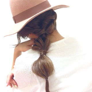 セミロング 簡単ヘアアレンジ お団子 モテ髪 ヘアスタイルや髪型の写真・画像